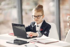 Confident homeschooler using the computer