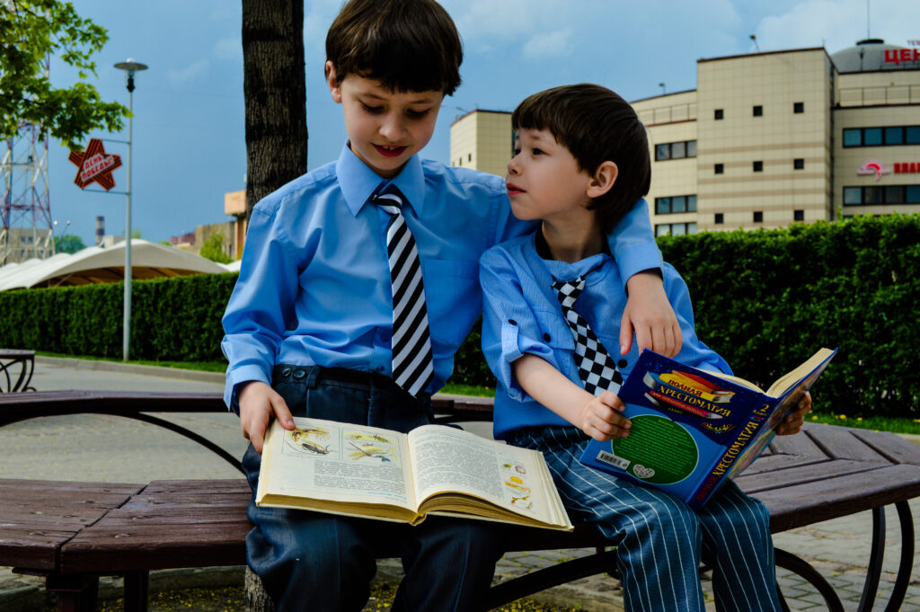 boys reading aloud
